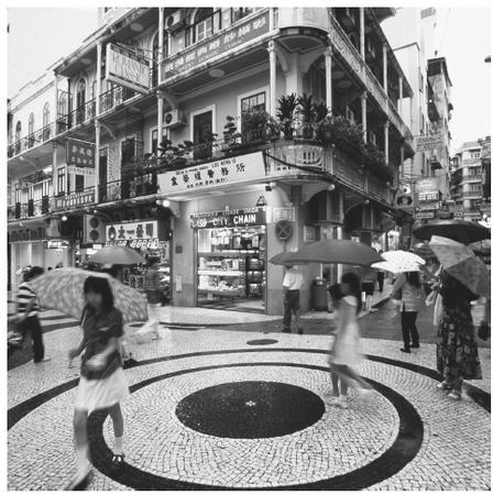 Macau's urban architecture, as seen in Leal Senado Square (above), combines Portuguese and Chinese influences, which lend a romantic character to the city.