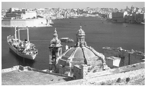 View of Grand Harbor, where the Knights of Saint John began construction of the nation's capital, Valletta, in 1566.