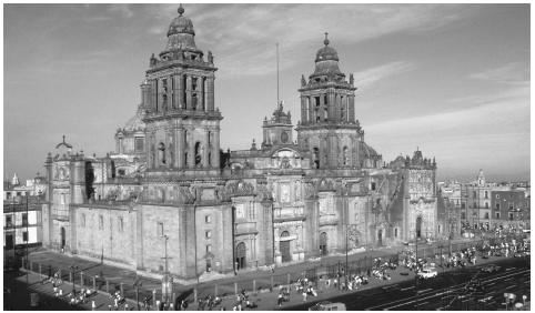 The National Cathedral in Mexico City, which sits upon the ancient city of Tenochtitlan. The dominant religion in Mexico is Roman Catholicism.