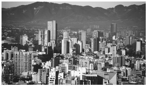Scenic view of downtown Mexico City, Mexico. All major highways in Mexico converge in the capital city.
