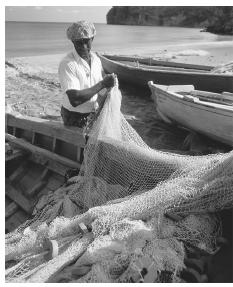 A fisherman untangles his net from his boat on the beach at Carr's Bay.