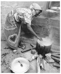 A woman cooks over an open-air fire in Mozambique. Women often face obstacles when seeking nontraditional employment.