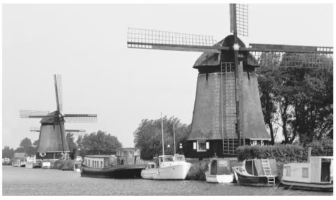 Two windmills in the Netherlands.