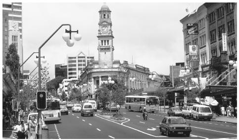 A view of Queen Street, the main thoroughfare of Auckland, the largest city, with a population approaching one million.