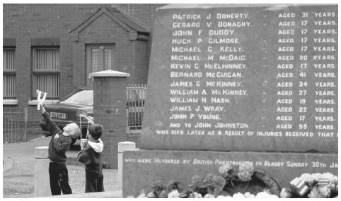 A memorial to fourteen unarmed marchers who were shot by British paramilitary troops during a civil rights march in Derry on Sunday 30 January 1972. Since 1974, the United Kingdom has ruled Northern Ireland directly.