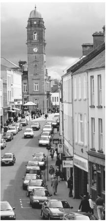Main street of Enniskillen. Families tend to live together in nuclear units in government housing projects.