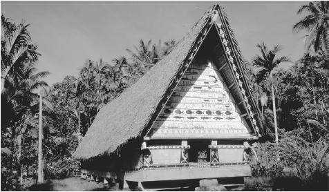 Palm trees surround a traditional men's house. The bai gable is an important cultural symbol.