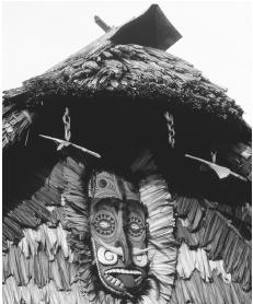 A decorative wood carving on a village hut in Kaminabit Village, near the Sepik River.