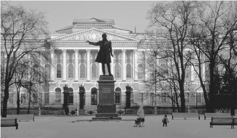 "A statue of poet Alexander Pushkin in front of the Russian Museum in Saint Petersburg. Pushkin inaugurated the ""golden age"" of Russian literature."
