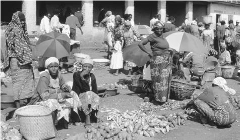 Produce for sale at the Cyangnu Market. Potatoes, beans, bananas, and sorghum are the most common Rwandan foods.