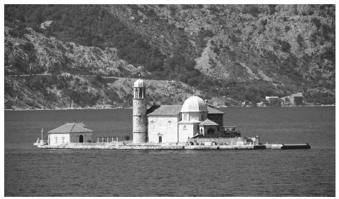 Church Island, Bay of Kotor. Montenegro borders the Adriatic Sea.