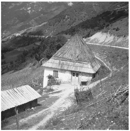 A typical house in Montenegro. Most houses in rural areas are still relatively close together.