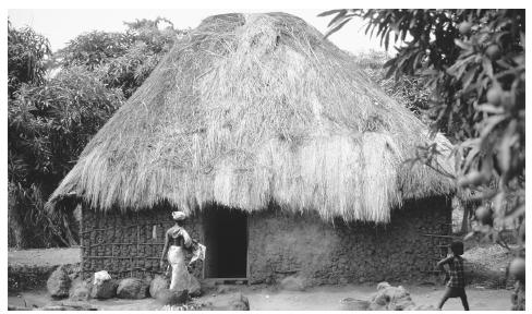 A thatched hut stands in a village on the south coast of Sierra Leone. Such traditional buildings stay cooler than those with zinc roofs and cement walls and floors but require more maintenance.