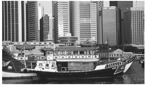 Boats and buildings in Inner Harbor. High-rises are a striking feature of Singapore's landscape.
