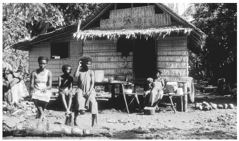 A family relaxes on benches in front of their house in Falamai Village. Stilts and windows provide needed ventilation in the equatorial climate.