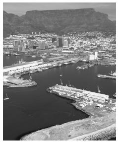 Cape Town harbor. The city was formed in 1652 as a trading station of the Dutch East India Company.