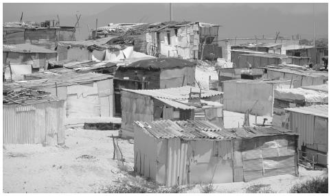 A shantytown in Cape Town. Poverty and segregation are persistent legacies of South Africa's former policy of apartheid.