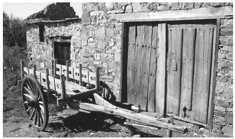 A cart outside a rural building in Castillo. Stone is a popular building material in Spain, providing strength, insulation, and privacy.