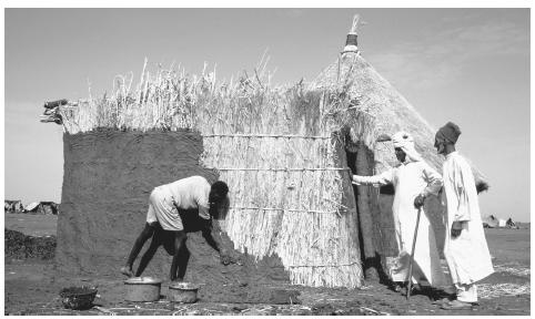 A Rasheida resident employs a worker to mud-plaster his house. These mud structures are common in the northern region of the Sudan.