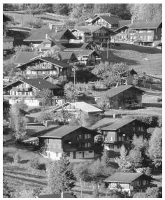 A Swiss alpine village in the Jungfrau Region of Switzerland.