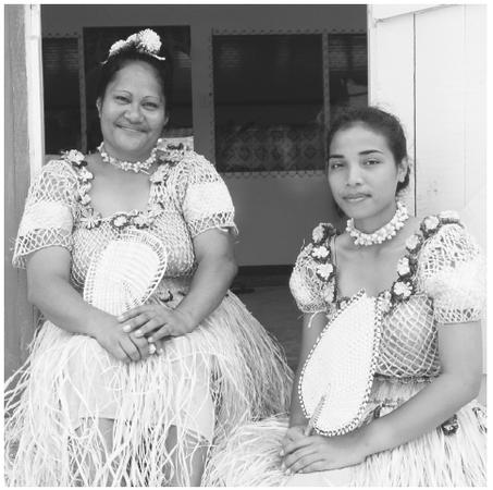Performers from the tokelau islands wear traditional dress as they