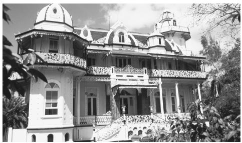 Iron lacing decorates a colonial style mansion in Port of Spain, Trinidad and Tobago.