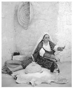 Women's responsibilities can include spinning and weaving wool.