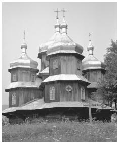 A Western Orthodox church in the Carpathian Mountains. Crosses and domes are common on Ukrainian churches.