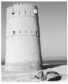 An ancient watchtower on the coast of the United Arab Emirates.