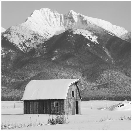 A snow-capped mountain rises above an old barn in the Mission Range Valley, Montana. The landscape of the U.S. is extremely diverse and often spectacular.