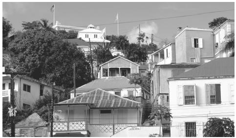 The colonial style architecture of Charlotte Amalie, Saint Thomas. European and African cultures have influenced local architecture.