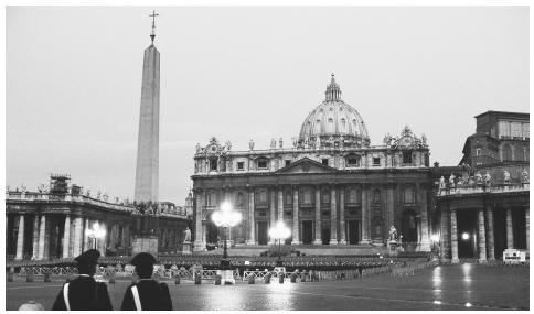 The Piazza San Pietro at night. The Piazza is the site of public masses and worldwide papal addresses.