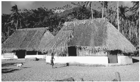 A boy and his dog run past thatch roof huts on Futuna Island, Wallis and Futuna. These huts follow the general style of Futuna homes.