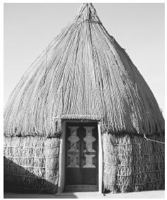 A traditional Yemeni hut in the village of Tihamah uses timber and straw.