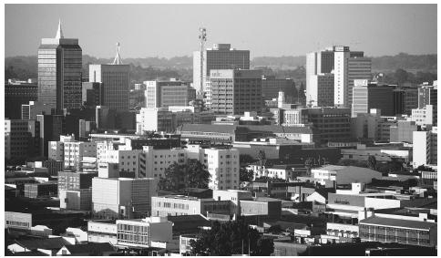 A view of downtown Harare. Most Zimbabwean architecture is  strictly functional, like these commercial and office buildings.