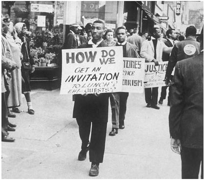 These African Americans picket and march in protest of lunch counter ...