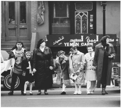 arab americans history modern era arabs in america  these arab american family members are standing in front of the yemen caf in brooklyn