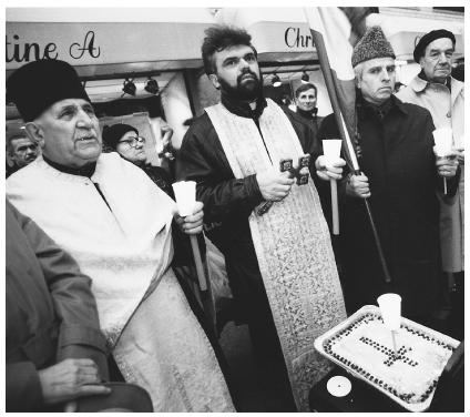 Romanian americans history modern era the first romanians in america in this 1992 photograph romanian priests lead a service outside the romanian mission to the m4hsunfo